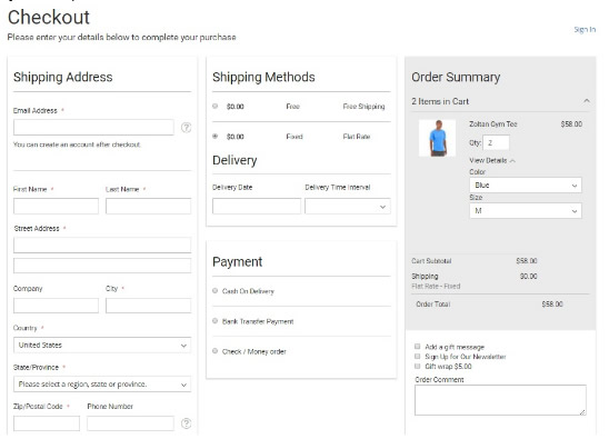 Ejemplo Proceso de compra en un sólo paso